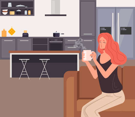 Woman character drinking morning coffee on home kitchen. Vector flat graphic design illustration