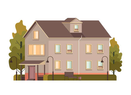 House home building street isolated concept. Vector flat graphic design illustration