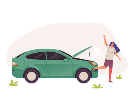 Woman character calling help near broken car. Vector flat graphic design illustration 向量圖像