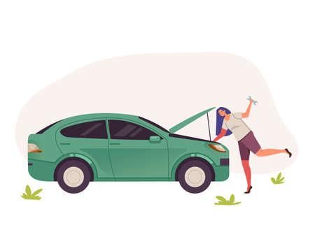 Woman character fixing broken car. Vector flat graphic design illustration