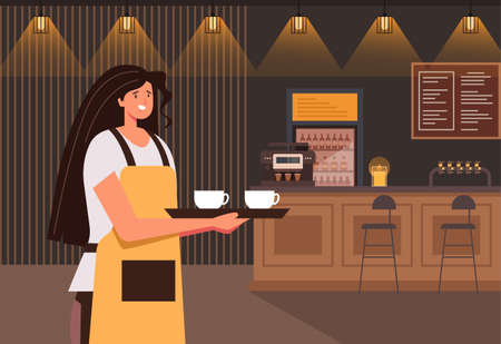 Cafe waiter woman character holding cup of coffee. Small business concept. Vector flat graphic design illustration