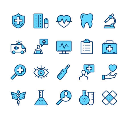 Medicine therapy dentist isolated line web icon set. Vector flat graphic design illustration
