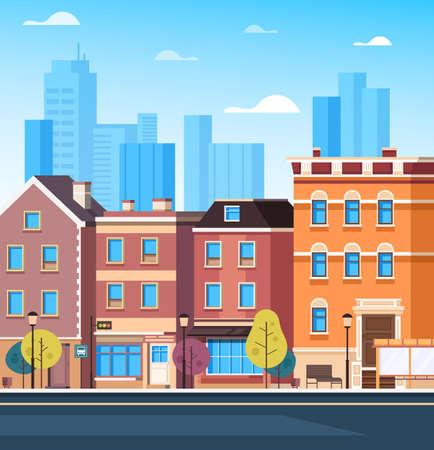 Buildings facade street towns concept. Vector flat cartoon graphic design illustration Vektorové ilustrace