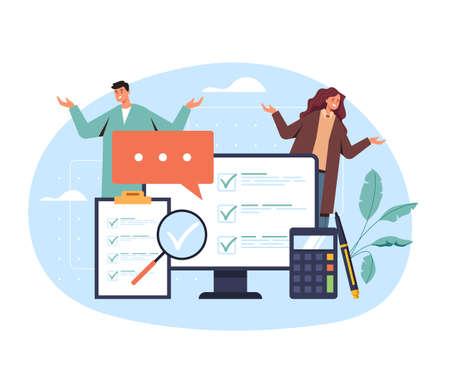 Online survey examination choosing service isolated concept. Vector flat cartoon graphic design illustration Векторная Иллюстрация