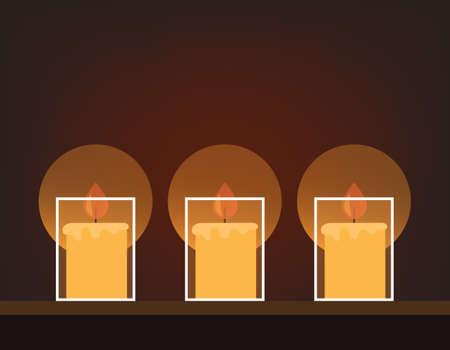 Three candles on dark background. Vector flat cartoon graphic design illustration