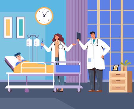 Emergency resuscitation hospital room doctors and patient concept. Vector flat cartoon graphic design illustration