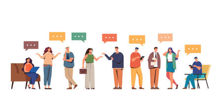 People friends colleague characters talking concept. Vector flat graphic design illustration
