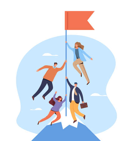 Teamwork goal target management office business concept. Vector flat graphic design illustration