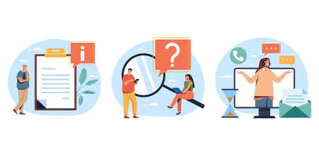 Guides FAQ support concept. Vector flat graphic design illustration