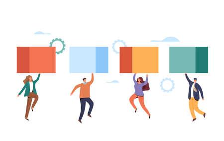 Teamwork management business development concept. Vector flat graphic design illustration Ilustração