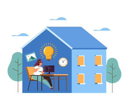 Work and stay at home. Epidemic safe concept. Vector flat graphic design illustration