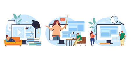 Web online learning study concept set. Vector flat graphic design illustration