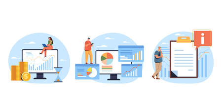 Analytics and data seo optimization information search banners set. Vector flat graphic design illustration