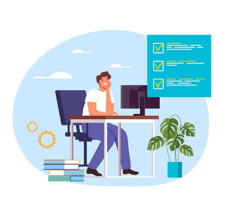 Man office worker secretary businesswoman character finish work. Vector flat graphic design illustration Ilustração