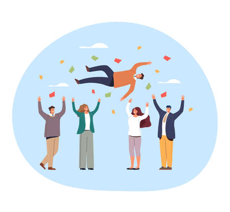 People friends colleague workers man woman characters throw up in air friend. Congratulation celebration birthday win party concept. Vector flat graphic design illustration