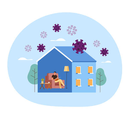 People man character siting home and reading book. Self isolation quarantine coronavirus covid-19 concept. Vector flat graphic design illustration