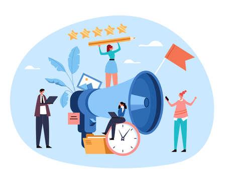 Marketing optimization announcement business promotion advertisement by megaphone. Market digital promo concept. Vector flat graphic design illustration