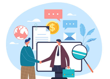 Two business people workers businessmen characters shaking hands. Internet online computer business deal agreement concept. Vector flat graphic design illustration