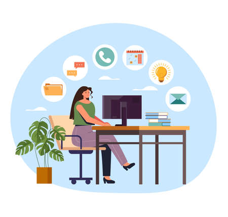 Woman office worker businesswoman working on workplace and down many tasks. Multitasking concept. Vector flat graphic design illustration