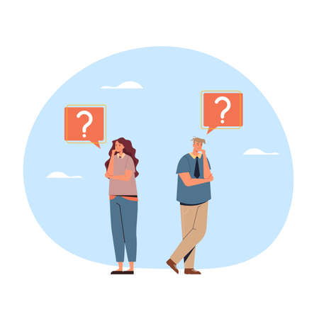 Man and woman characters office workers business people thinking. Vector flat graphic design illustration