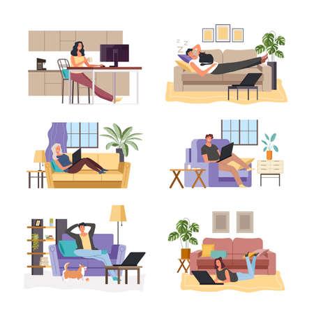 People freelancers working home by internet online and using computer laptop pc in comfortable interiors. Quarantine concept. Vector flat graphic design illustration set Ilustração
