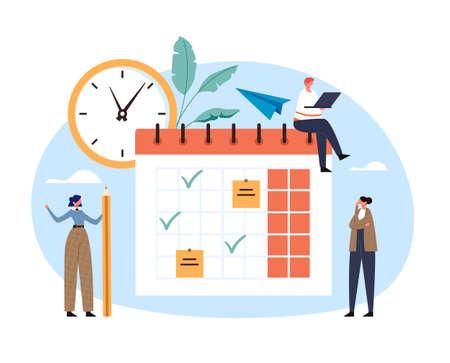 Schedule planning organizer deadline daily calendar checklist organization deadline concept. Vector flat graphic design illustration