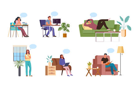 People cartoon dreaming at home and office concept. Vector flat graphic design illustration