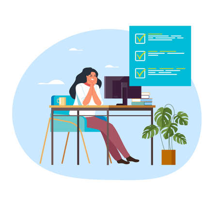 Woman office worker secretary businesswoman character finish work. Vector flat graphic design illustration