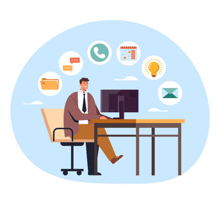 Man office worker businessman working on workplace and down many tasks. Multitasking concept. Vector flat graphic design illustration
