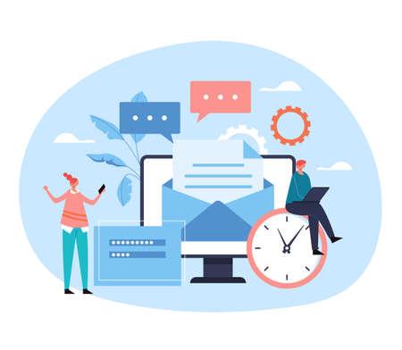 Mail mobile online message feedback document communication service concept. Vector flat graphic design illustration