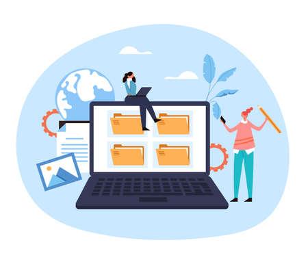 Laptop pc file organization web service archive website document concept. Vector flat graphic design illustration Ilustração