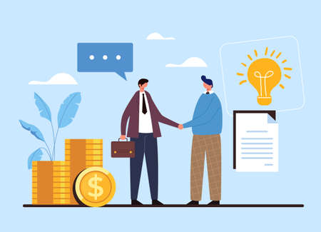 Two people businessman and worker shaking hands. Contract deal agreement start up idea money concept. Vector flat graphic design illustration