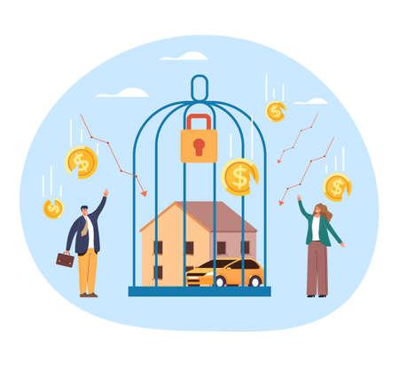 Business fail broken ruin. Financial economy income collapse crisis bankruptcy concept. Vector flat graphic design illustration Ilustração