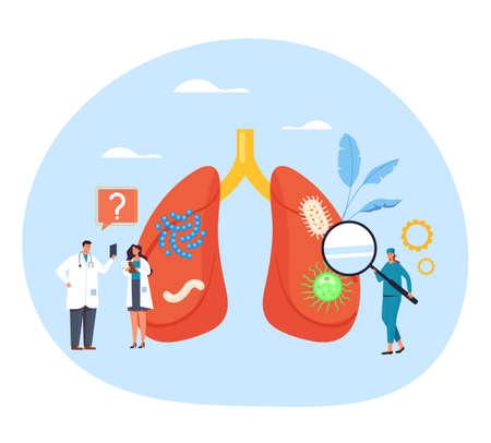 lungs diagnosis test research diagnostic examination virus pneumonia covid-19 coronavirus. Health care concept. Vector flat graphic design illustration