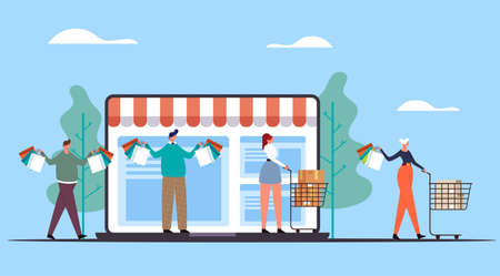 People man woman characters doing purchases and carrying bags. Online internet web shopping concept. Vector flat graphic design illustration