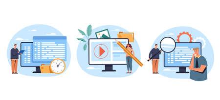 Programming and coding project system developing digital network concept. Vector flat graphic design illustration Ilustração