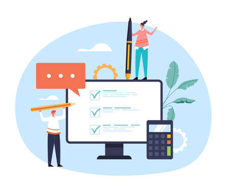 Online web internet survey test feedback concept. Vector flat graphic design illustration