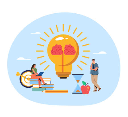 People office workers character thinking. Brain idea concept. Vector flat graphic design illustration Ilustração
