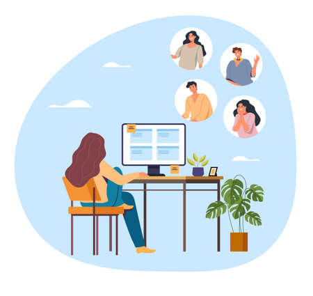 Woman freelancer character working home and calling friends colleague by internet online web site. Vector flat graphic design illustration Ilustração