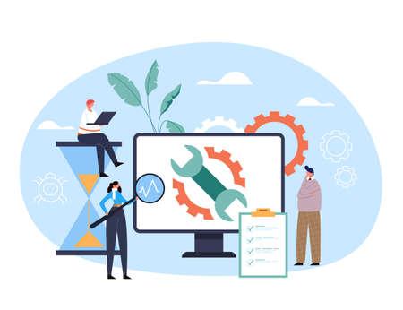 Computer digital repair diagnostic help technical support service concept. Vector flat graphic design illustration Ilustração