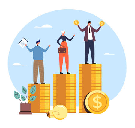 Salary income finance difference rights corporate injustice unequal payment concept. Vector flat graphic design illustration