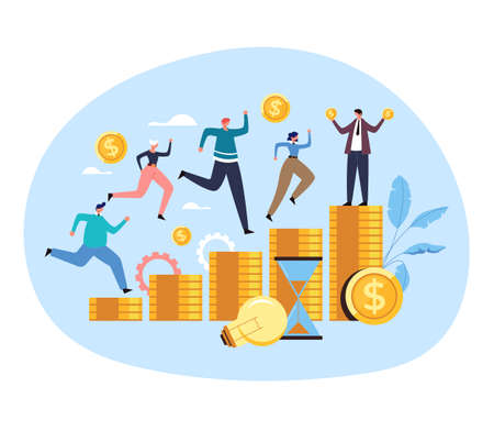 Office workers colleague man woman people characters compete running for money job salary contract income concept. Vector flat graphic design illustration