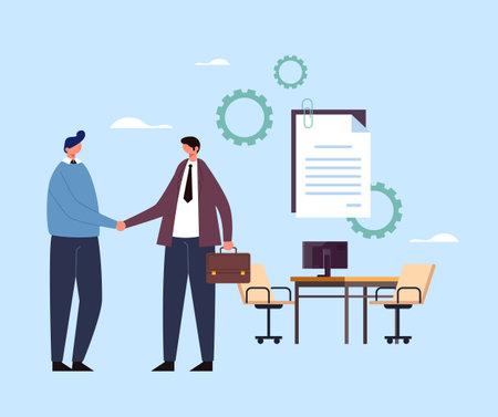Recruitment hiring opportunity candidate research concept. Vector flat graphic design illustration Ilustração