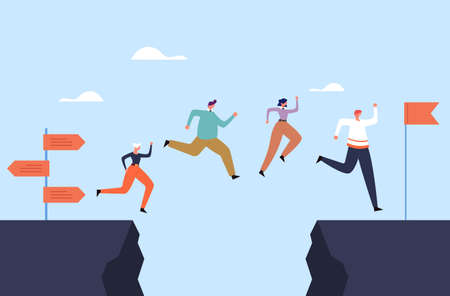 Business people office workers team jump over rock concept. Vector flat graphic design illustration