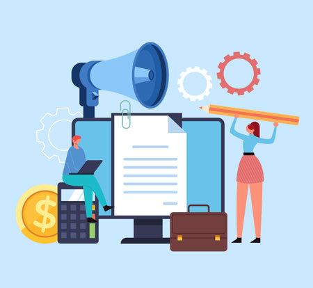 Enterprise new business start up strategy development financial analytics planning organization concept. Vector flat graphic design illustration