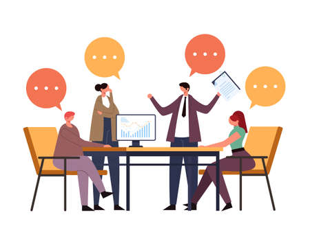 Business people office workers characters collective team thinking. Working project process concept. Vector flat graphic design illustration Ilustração