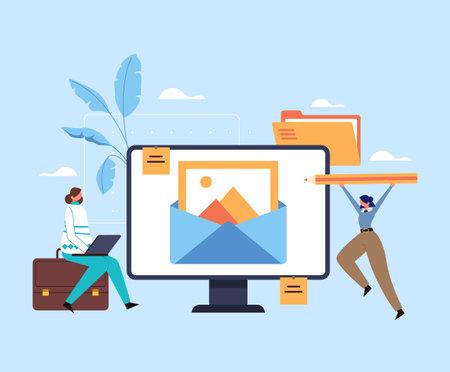 Content management blogging promotion advertisement strategy analysis concept. Login password enter website concept. Vector flat graphic design illustration