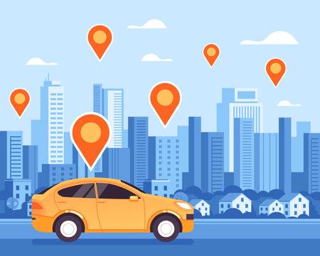 Taxi city mobile online internet navigation location concept. Vector flat cartoon graphic design illustration