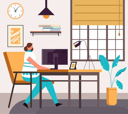 Woman freelancer character working and studying at home office. Vector flat cartoon graphic design illustration
