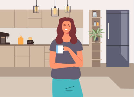 Woman character drink cup of coffee and smiling. Good morning concept. Vector flat graphic design illustration